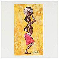 'Woman from the Yellow Lakeside' - African Folk Art Painting