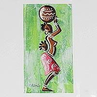 'Woman from the Green Lakeside' - Original African Acrylic Painting