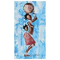 'Woman from the Blue Lakeside' - African Folk Art Painting