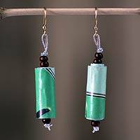 Recycled paper dangle earrings, 'Fresh Morning' - Unique Recycled Paper Dangle Earrings from Africa