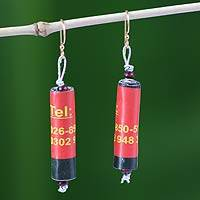 Recycled paper dangle earrings, 'Numerical' - Recycled paper dangle earrings
