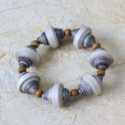Recycled paper stretch bracelet, Golden Dawn