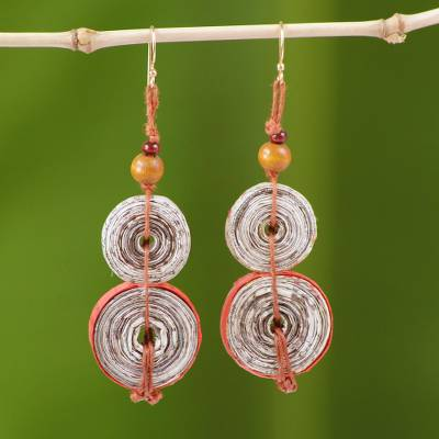 Recycled paper dangle earrings, 'Music Festival' - Hand Made Recycled Paper Dangle Earrings