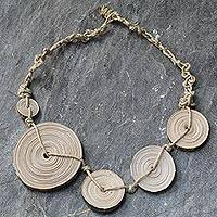 Recycled paper pendant necklace, 'Woven Sideways' - Recycled paper pendant necklace