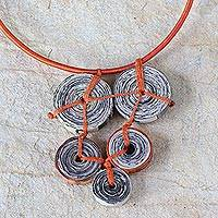 Recycled paper pendant necklace, 'Cross My Orange Heart' - Recycled paper pendant necklace