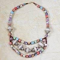 Recycled paper waterfall necklace, 'Unity' - Eco Friendly Recycled Paper Necklace from Africa