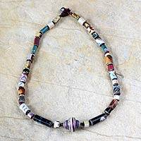 Recycled paper beaded necklace, 'Simply Me' - Unique Recycled Paper Beaded Necklace