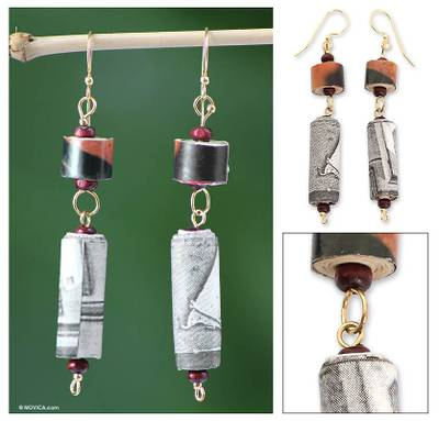 Recycled paper dangle earrings, 'My Piano' - Recycled paper dangle earrings