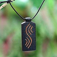 Teakwood pendant necklace, 'Positive Vibes' - Teakwood Pendant Necklace