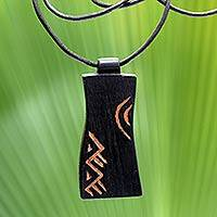 Teakwood pendant necklace, 'Talk' - African Teakwood Pendant Necklace