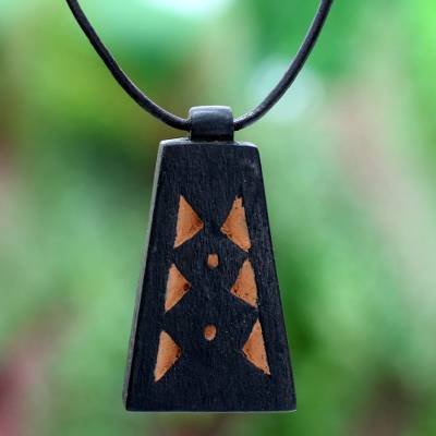Men's teakwood pendant necklace, 'Between Pyramids' - Men's Hand Crafted Leather and Wood Pendant Necklace