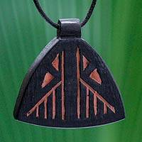 Teakwood pendant necklace, 'Mframadan' - Teakwood pendant necklace