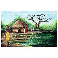 'Aklowa by Day I' - Original Painting from Africa