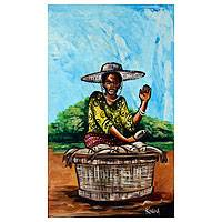 'Fish for Sale' - African Cultural Painting