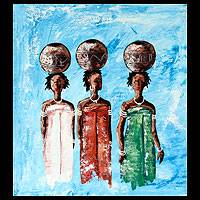 'The Palm Wine Ladies' - Cultural Portrait Painting from Africa