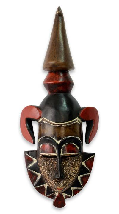 Handmade Brown and Red African Sese Wood Mask from Ghana