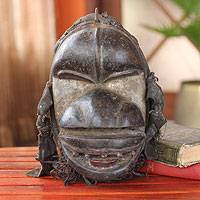 Ivoirian wood mask, 'Spirit of the Rain' - Unique Ivory Coast Wood Mask
