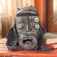 Ivoirian wood mask, 'Spirit of War' - West African Hand Carved Sese Wood Battle Mask