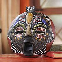 African wood mask, 'Bakota Gratitude' - African wood mask