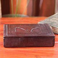 Leather jewelry box, 'Precious Treasures' - Leather jewelry box