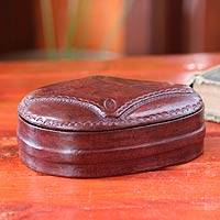 Leather jewelry box, 'Royal Treasures' - Leather jewelry box