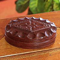 Leather jewelry box, 'Regal Treasures' - Leather jewelry box