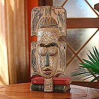 Ghanaian wood mask, 'Peace on Earth' - African wood mask