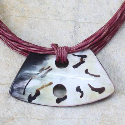 Horn and leather necklace, 'Alamis' - Handmade Leather and Horn Pendant Necklace from Africa