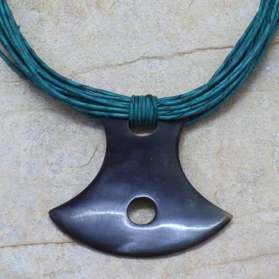 Horn and leather necklace, 'Laraba' - Leather and Horn Pendant Necklace