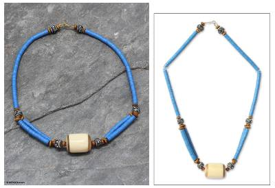 Bone and ceramic beaded necklace, 'Laafi' - Bone and Recycled Beaded Necklace