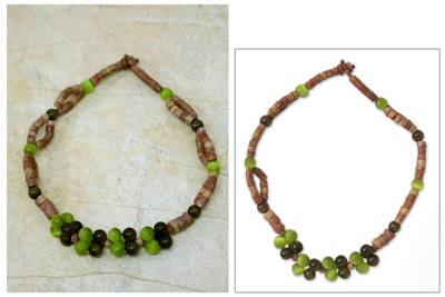 Bauxite and cats eye beaded necklace, Womans Wisdom