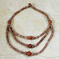Bauxite and agate waterfall necklace,