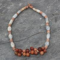 Agate and soapstone beaded necklace,
