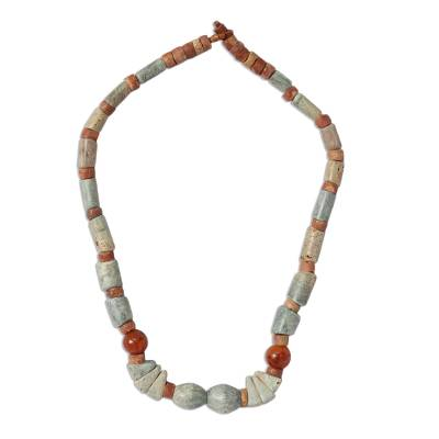 Soapstone and agate beaded necklace