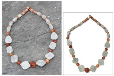 Soapstone and agate beaded necklace, 'Seal of Law' - Soapstone and agate beaded necklace
