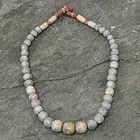 Soapstone and bauxite beaded necklace, 'Eyes of the King' - Soapstone and bauxite beaded necklace