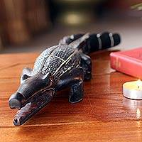 Wood sculpture, 'Benin Crocodile I' - Hand Carved Wood Sculpture