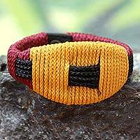 Men's wristband bracelet, 'Live Long' - Men's Handcrafted Wristband Bracelet