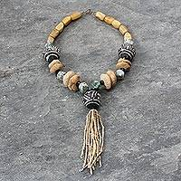 Jasper and terracotta beaded necklace, 'Dogon Chic' - Jasper and terracotta beaded necklace