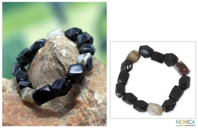 Agate beaded bracelet, Akan Delight