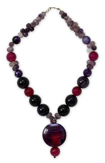Quartz and Chalcedony Beaded Necklace