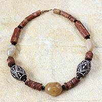 Terracotta and bauxite beaded necklace,
