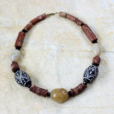 Terracotta and bauxite beaded necklace, 'Hope' - Terracotta and bauxite beaded necklace