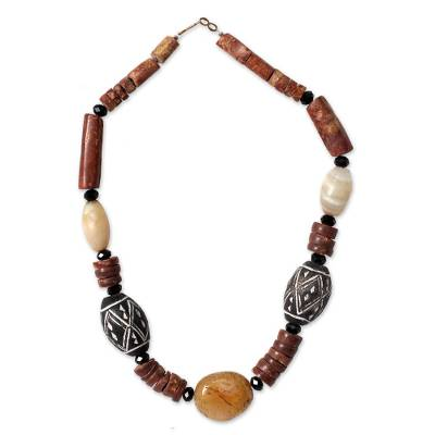 Terracotta and bauxite beaded necklace