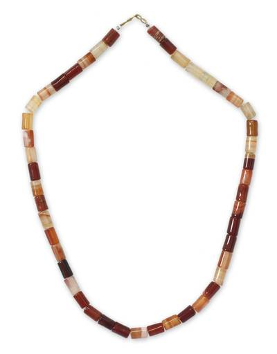 Agate long beaded necklace