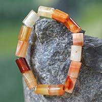 Agate beaded bracelet, 'Accra Warmth' - Agate beaded bracelet