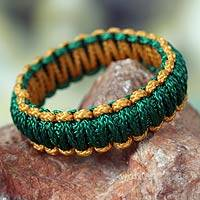 Bangle bracelet, 'Queen Amina in Gold and Green' - Bangle Bracelet from Africa