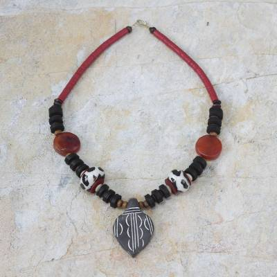 Agate and wood pendant necklace, 'African Wisdom' - Agate and Wood Beaded Pendant Necklace