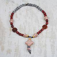 Agate and ceramic pendant necklace, 'African Queen of Peace' - Agate and Ceramic Pendant Necklace
