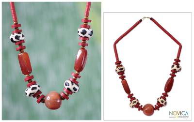 Agate and bone beaded necklace, 'Taoure' - African Agate and Bone Beaded Necklace